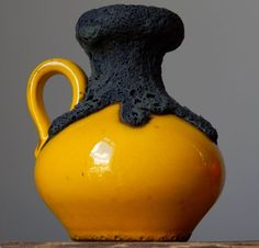 Vintage 70s ROTH KERAMIK Yellow Fat Lava  Vase Jug West German Pottery Art Craft #Vases