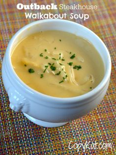 Outback Steakhouse Walkabout Soup can be made at home with this copy cat recipe. Enjoy this steakhouse favorite tonight.