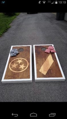 Made by Adam T Handmade Tennessee cornhole boards. Made by Adam Diy Cornhole Boards, Cornhole Decals, Painted Corn Hole Boards, Cornhole Designs, Barbie Dream House, Backyard Games, Wood Creations, Love Craft, Diy Painting