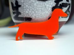 Crazy Dachshund Lady brooch - custom colour - acrylic or wood dog brooch