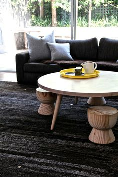 Coffee table and stools