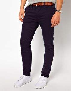 $41, Skinny Chinos Navy by Asos. Sold by Asos. Click for more info: http://lookastic.com/men/shop_items/56618/redirect