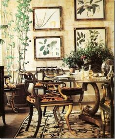 After her divorce from Stanislaw Radziwill in 1974, Lee Radziwill moved from the the Fifth Avenue penthouse to a smaller apartment on Park Avenue. The black, cream and gold Bessarabian rug, the Regency dining table and the Duke of Beaufort botanicals are now in a sunny and airy environment that reminded Lee of Turville her English country manor house.