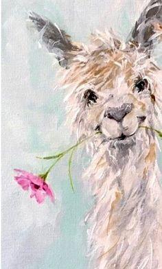 Llama painting - Alpaca www susanpepedesi – Llama painting Alpacas, Art And Illustration, Watercolor Animals, Watercolor Paintings, Painting Prints, Painting & Drawing, Llama Arts, Llama Llama, Baby Llama
