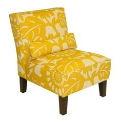 yellow and white slipper chair. Great accent for the family room....maybe.