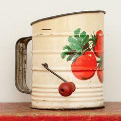 Vintage kitchen flour sifter   Vintage Eggshell Enameled Metal Flour Sifter with Vine Ripened ...