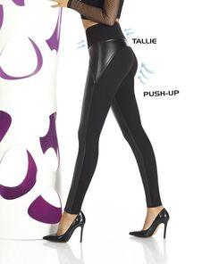 3e20dfab7a Détails sur Leggings femme sexy noir push up inserts simili cuir BAS BLEU  36 38 40 42 44