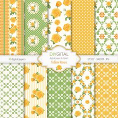 Yellow Roses- Shabby Chic Digital Paper Set- Floral-Romantic-Cottage Chic- Yellow Roses Digital Paper for scrapbook, invites, cards,weddings