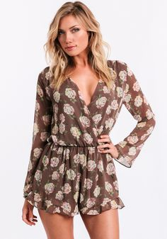 This sultry floral-print romper looks perfect with a wide-brimmed hat and ankle booties for a beachfront party.