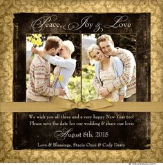 Two Photo Save the Date New Year Card - Peace, Joy & Love 2015
