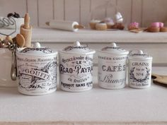 Vintage French Style Kitchen Metal Canisters for Dollhouse