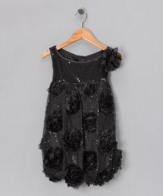 Take a look at this Black Sequin Floral Bubble Dress - Girls by Paulinie on #zulily today!