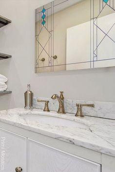 "Discover the art deco bathroom mirror ""Notre Dame,"" a hanging mirror inspired by Art Deco that will brighten your living space. Start browing now. . . . #geometricmirror #wallmirrorsdecorative #vanitymirror #homedecor Craftsman Decor, Modern Craftsman, Craftsman Style, Modern Bathroom Decor, Modern Decor, Art Deco Decor, Decoration, Mirror Mosaic, Mosaic Bathroom"
