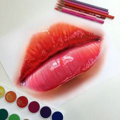 I don't even understand how this was done. JEEEEZ.       Colored pencil lip study by Morgan Davidson
