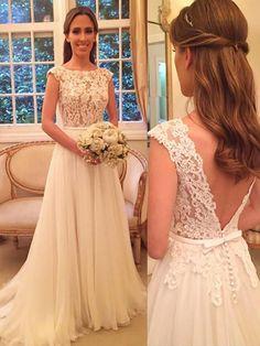 A-Linie/Princess-Stil Chiffon U-Ausschnitt Sweep/Pinsel Zug Ärmellos Brautkleider