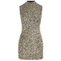 Harrods of London High Neck Embellished Dress (22 085 UAH) ❤ liked on Polyvore featuring dresses, shift dress, party dresses, gold dress, gold sparkly dress and cocktail party dress