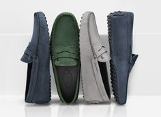 A selection of Tod's #gommino moccasins crafted from supple nubuck leather with a vintage feel.