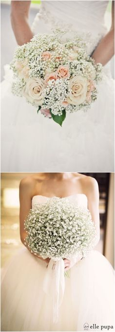 Rustic baby's breath wedding bouquets #wedding #weddingideas #weddinginspiration