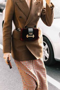 Brown checkered longline double breasted blazer, red and green checkered midi skirt and burgundy Prada fanny pack / Paris Fashion Week 2017 Street Style Inspiration Look Fashion, New Fashion, Trendy Fashion, High Fashion, Winter Fashion, Street Fashion, Fashion Outfits, Womens Fashion, Fashion Trends