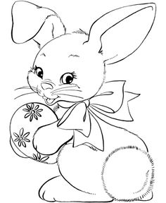 Easter Bunny Hold Egg Coloring Page