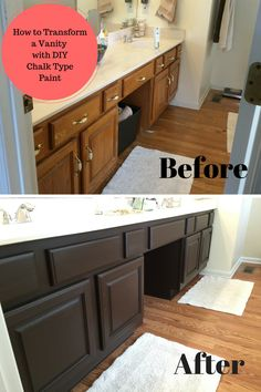 bathroom vanity transformation with diy chalk type paint farm fresh vintage finds - Painting Bathroom Cabinets Brown
