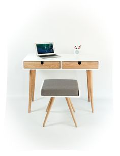 Desk lacquered in white and oak drawers Bureau by Habitables