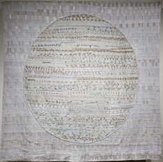 "Mended World, 2012, 240h x 240w x 1d cm,  (94"" x 94"")        Materials: re-cycled linen and cotton damask, new silk, light weight cotton, sewing and quilting thread, linen yarn, bamboo batting, backed with linen damask pieced with cotton dsigned by marimekko,        Technique: hand piecing using foundation cloth, machine piecing, hand quilting, hand embroidery/quilting, made with community assistance.               Photo:  Klaus Rossler"