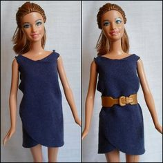 2ca0389135f10b DIY Barbie Blog : Easy No Sew Wrap Dress for Barbie from Old T-Shirt