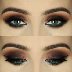 Makeup Geek Brow Brush Duo + Makeup Geek Eyeshadow in Shark Bait + Makeup Geek Gel Liner in Immortal. Look by: GlamDiva.pl: