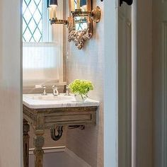 French Vanity with Gold Trim, French, Bathroom