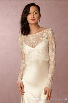 Lace Long Sleeves Bridal Wedding Bolero/Jacket 2018 Hot Sale Scoop Neck Backless Short Bridal Wraps&Jacket