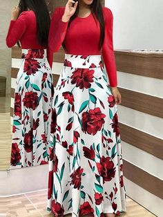 Short Sleeve Floral Print Maxi Dress - 27 ( and more) dresses - Saias Skirt Outfits, Dress Skirt, Cute Outfits, Slit Skirt, Chic Dress, Dot Dress, Dress Red, Skater Dress, Lace Dress
