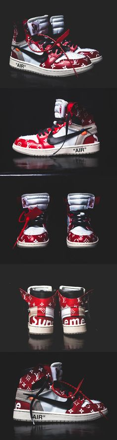 cdc515b96ad Louis Vuitton x Supreme x Off White inspired Jordan 1 custom Custom  Sneakers, Hand Designs