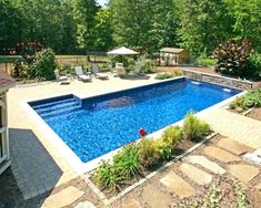 Small Backyard Ideas - Search outdoor decorating concepts and also redesign inspiration, consisting of one-of-a-kind landscapes, swimming pools, patios, and also patios to develop your very own exterior living space. Backyard Pool Landscaping, Backyard Pool Designs, Backyard Garden Design, Swimming Pools Backyard, Backyard Ideas, Landscaping Ideas, Pool Steps Inground, Backyard With Pool, Pool Liners Inground