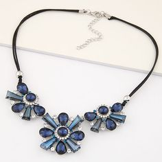 Fashion Statement Necklace, Zinc Alloy, with Glass & Rhinestone, Flower, platinum plated, lead & cadmium free, 400mm,china wholesale jewelry beads