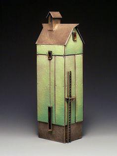 "ROBERT FARRELL - ""Tall Green Barn"" Sterling silver, copper, enamel, 23k gold leaf.  Sold for $4100."