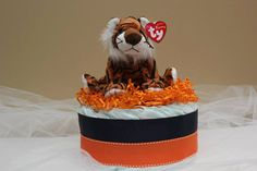 Blue and Orange Diaper Cake with Tiger by BBLittleThings on Etsy, $25.00