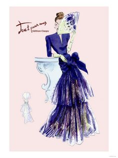 Royal Blue Evening Dress with Fan