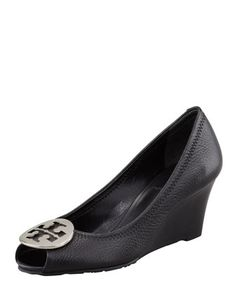 Sally 2 Leather Wedge Pump, Black/Silver by Tory Burch. There's nothing like a great wedge!
