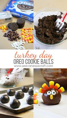 Thanksgiving Turkey Oreo Cookie Balls Recipe Looking for a fun Thanksgiving dessert or treat idea? Make a batch of OREO turkey cookie balls using this easy step by step recipe tutorial! Köstliche Desserts, Holiday Desserts, Holiday Baking, Holiday Treats, Holiday Recipes, Health Desserts, Dinner Recipes, Dessert Recipes, Chocolate Desserts