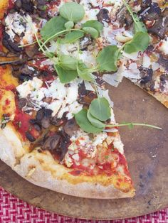 Ricotta, Garlic and Mushroom Thin Crust Pizza with Watercress # ...