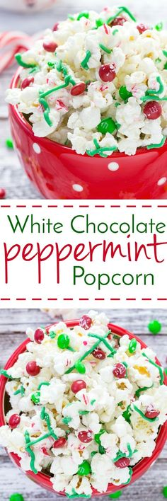 Got the munchies this holiday season?  This white chocolate peppermint popcorn with M&Ms makes a tasty snack for all!