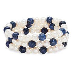 Honora Bracelet Bar Set of 3 Freshwater Cultured Pearl & Dumortierite... ($105) ❤ liked on Polyvore featuring jewelry, beaded jewelry, honora, cultured pearl jewelry, beading jewelry and freshwater pearl jewelry