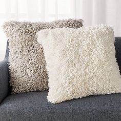 Memphis Light Grey Pillow with Down-Alternative Insert White Fluffy Pillow, Fluffy Pillows, Grey Pillows, Throw Pillows, Bedroom Cushions, Linen Bedding, Bed Linen, Crate And Barrel, Luxury Bedding