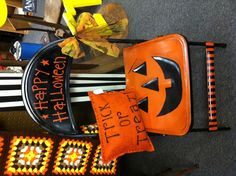 Halloween Chair:)  Could create a special chair for every holiday.  what fun!