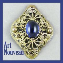 Art Nouveau Gilded Brass Filigree Brooch - Large Cobalt Czech Glass