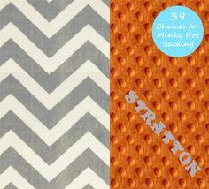 Chevron Minky Baby Blanket Boy Gray Orange by Sewingdreamsnotions