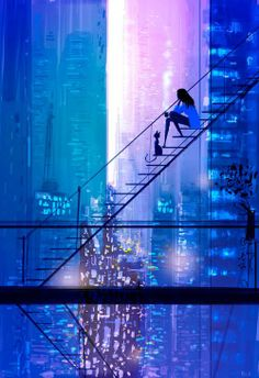 Girl and her cat on a fire escape looking out at the blue and purple city at night. Dreamy and pretty. Artist Pascal Campion's illustrations add a sense of joy to everyday life.