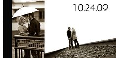 In love on the tracks and under umbrella! save the dates...