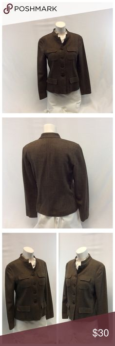 """CHARTER CLUB LADIES BROWN JACKET CHARTER CLUB Ladies Brown Jacket w/4 front pockets, Size 6, shell is 55% wool, 44% viscose, 1% spandex, lining is 100% acetate, dry clean. Approximate measurements are 19"""" bust laying flat, 16"""" shoulder seam to shoulder seam, 23"""" shoulder to hem, 23"""" sleeve from shoulder to end of sleeve. 0329 Charter Club Jackets & Coats"""